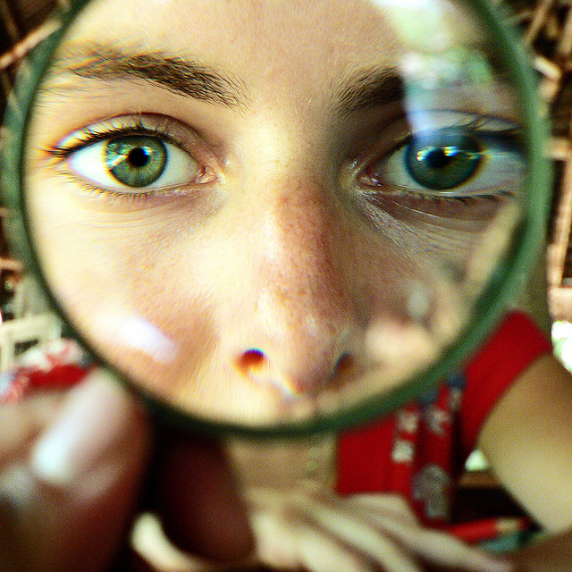 focus, space, creativity, magnifying glass