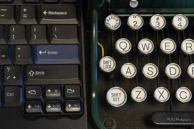 creative transition, old and new you, typewriter