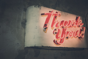 gratitude, thank you, pause, creativity, neon sign