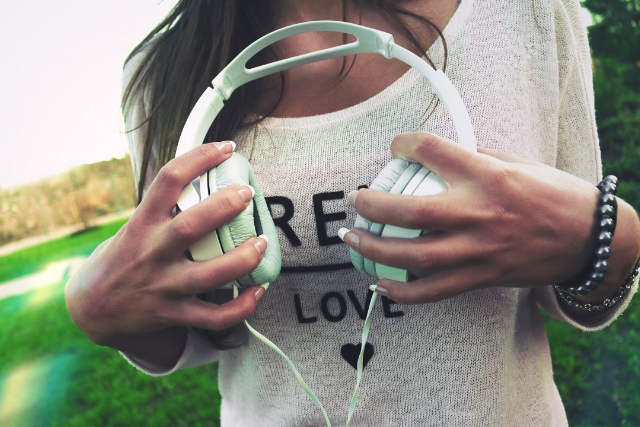 listening, creative self-care practice, mindfulness, headphones
