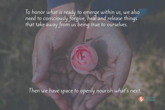 emerge, creativity, nourish, pink rose, hands, heal, creative katrina