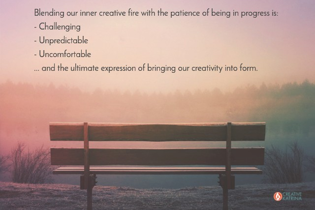 #creativefire #patience #creativekatrina #beinginprogress #creativity #blend creative fire with the patience of being in progress #bench